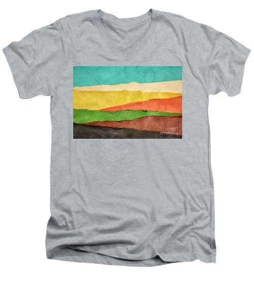 Abstract Landscape Created With Handmade Paper Men's V-Neck T-Shirt