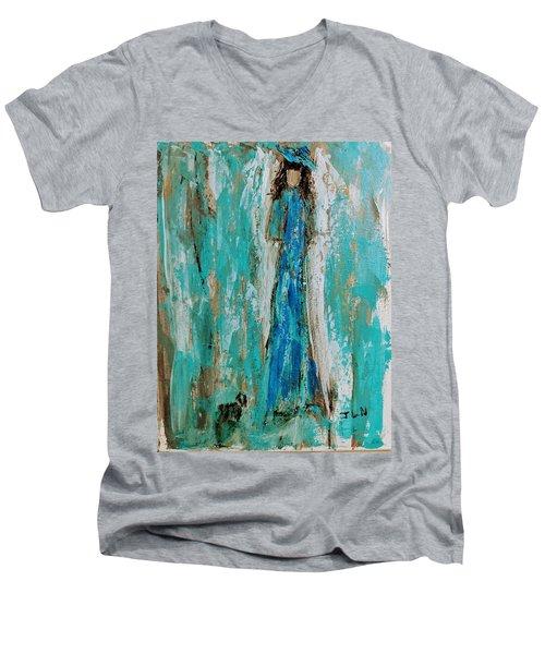 Angel With Her Pet Men's V-Neck T-Shirt