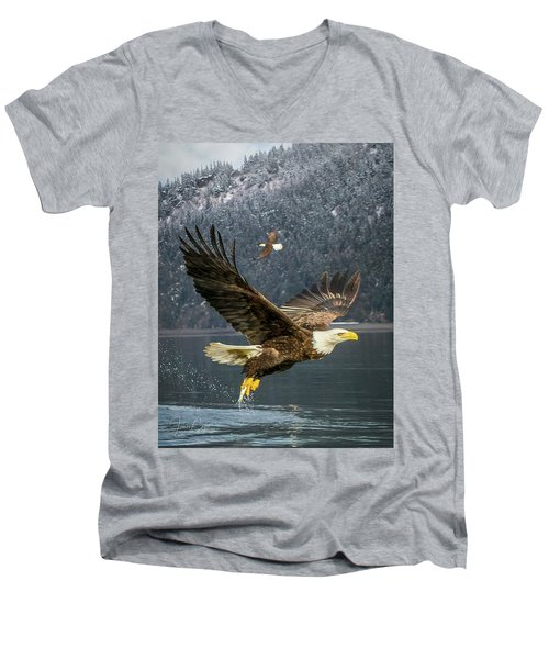 Bald Eagle With Catch Men's V-Neck T-Shirt
