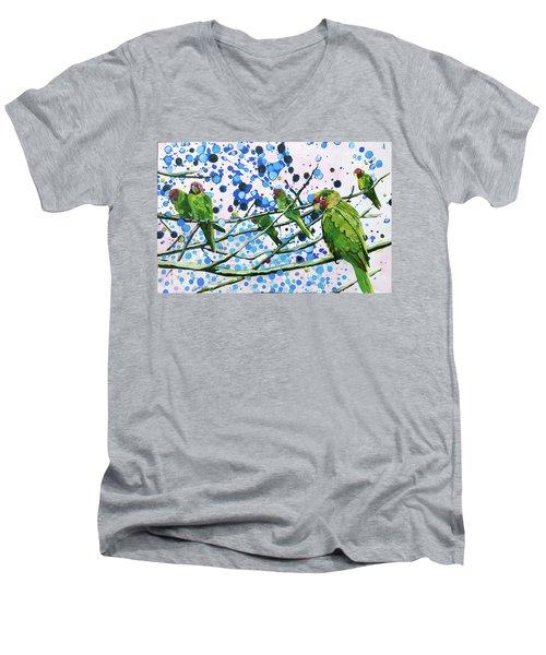 Blue Dot Parakeets Men's V-Neck T-Shirt