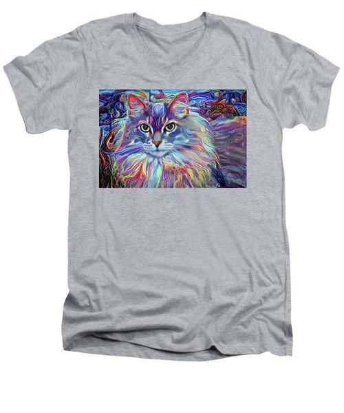 Colorful Long Haired Cat Art Men's V-Neck T-Shirt