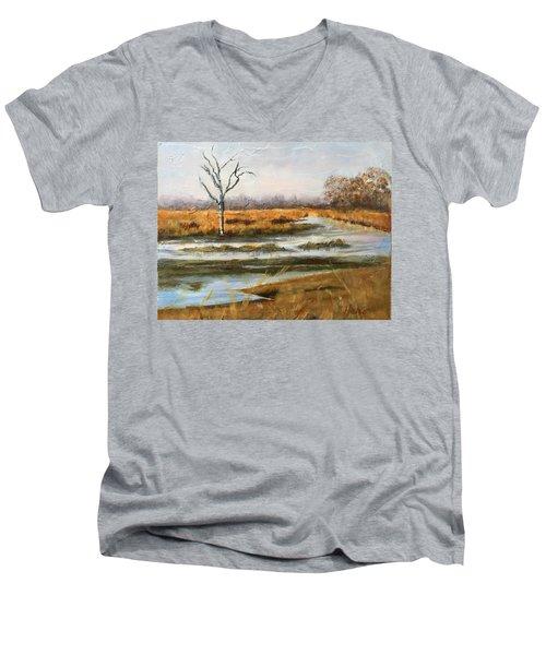 Early Spring On The Marsh Men's V-Neck T-Shirt
