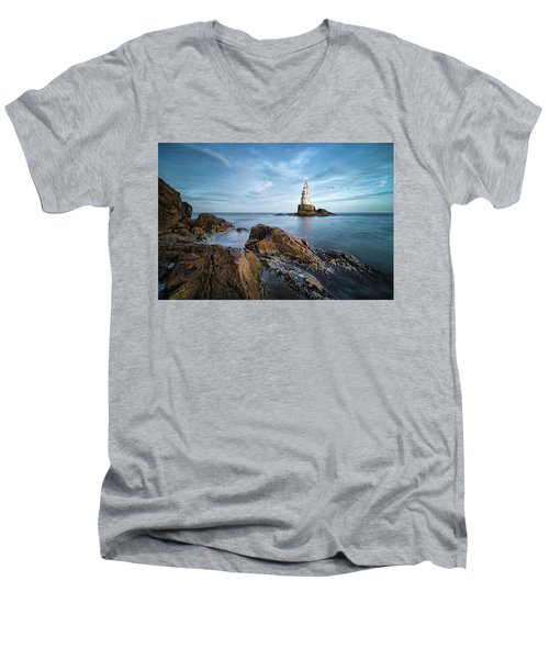 Lighthouse In Ahtopol, Bulgaria Men's V-Neck T-Shirt