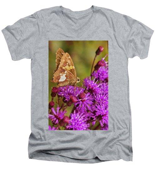 Moth On Purple Flowers Men's V-Neck T-Shirt
