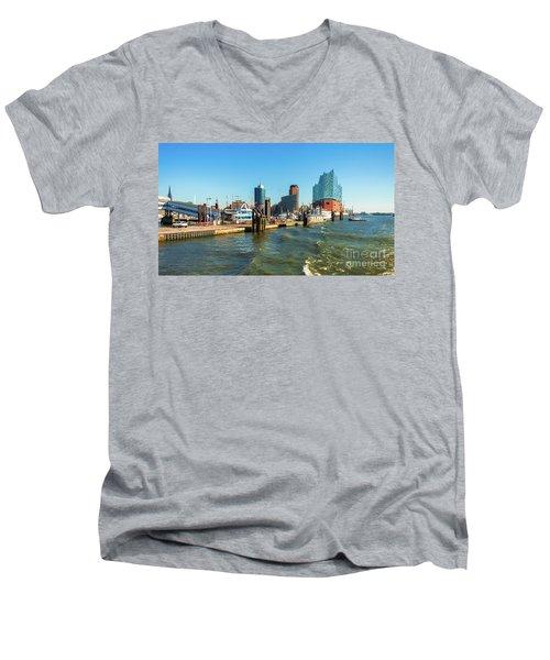 Panoramic View Of Hamburg. Men's V-Neck T-Shirt