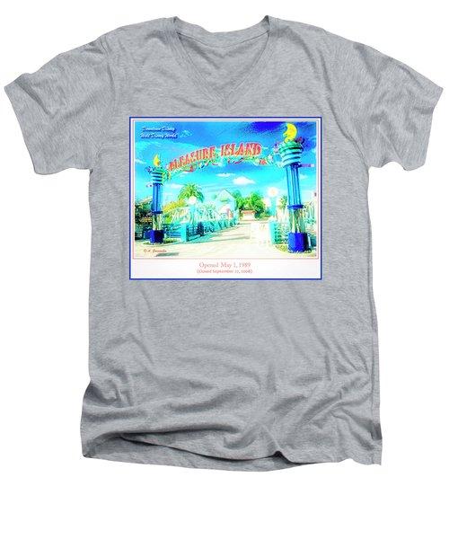 Pleasure Island Sign And Walkway Downtown Disney Men's V-Neck T-Shirt