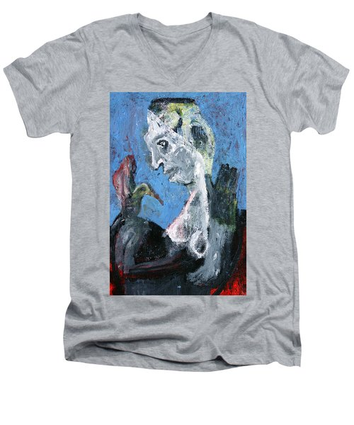 Portrait With A Bird Men's V-Neck T-Shirt