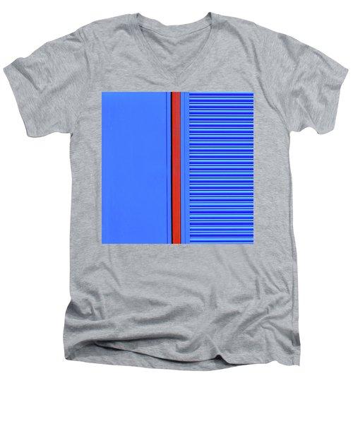 Blue With Red Stripe Men's V-Neck T-Shirt