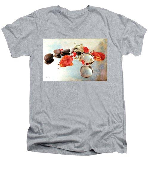 Men's V-Neck T-Shirt featuring the photograph Seasons In A Bubble by Randi Grace Nilsberg