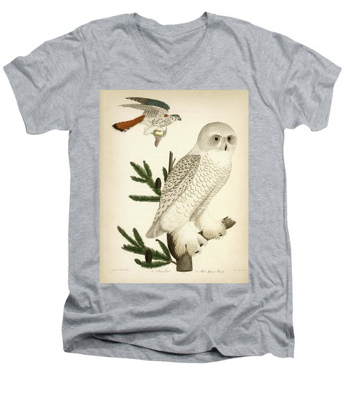 1. Snow Owl. 2. Male Sparrow-hawk. Men's V-Neck T-Shirt