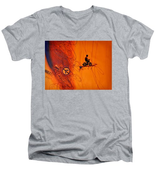 Men's V-Neck T-Shirt featuring the painting Somewhere Else by Bliss Of Art