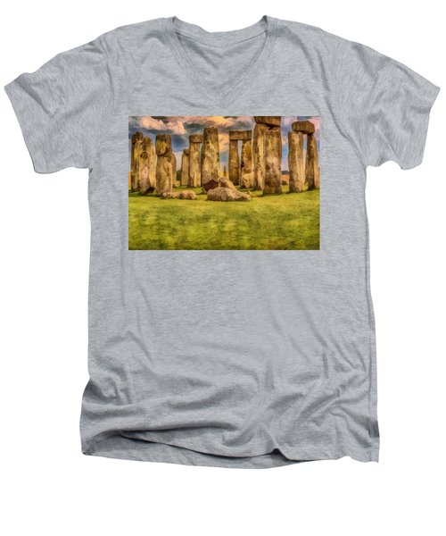 Men's V-Neck T-Shirt featuring the painting Stonehenge by Harry Warrick