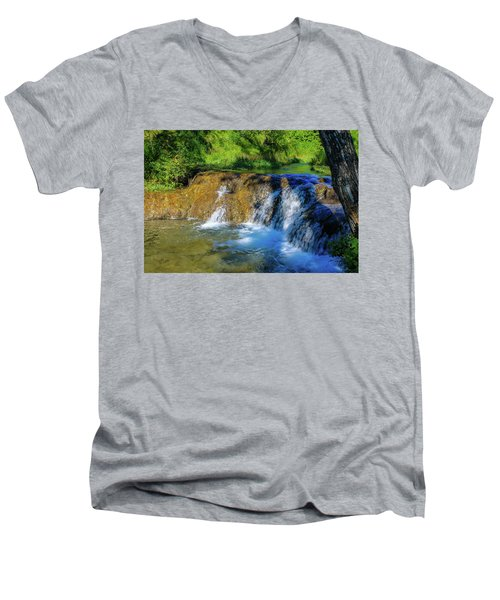 The Springs In It's Summer Green, Big Hill Springs Provincial Re Men's V-Neck T-Shirt