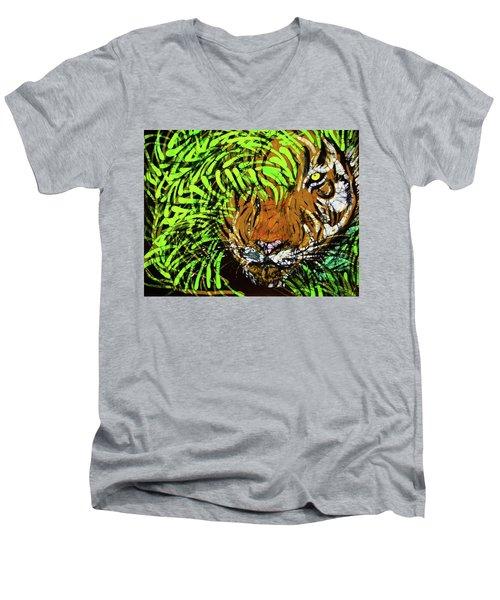 Tiger In Bamboo Men's V-Neck T-Shirt
