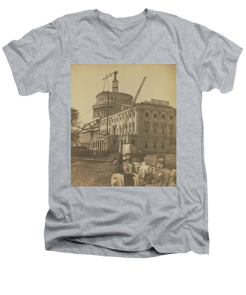 United States Capitol Under Construction Men's V-Neck T-Shirt