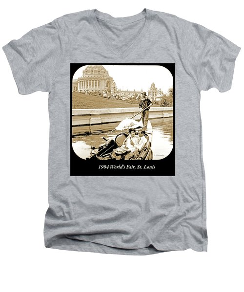 1904 Worlds Fair, Sighteeing Boat, Oarsman And Couple Men's V-Neck T-Shirt