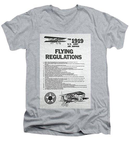 1919 Flying Regulations Poster Men's V-Neck T-Shirt