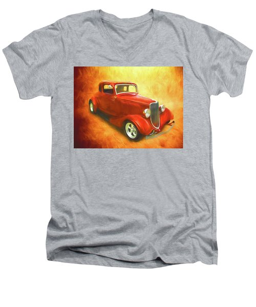 1934 Ford On Fire Men's V-Neck T-Shirt