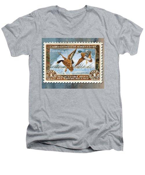 1934 Hunting Stamp Collage Men's V-Neck T-Shirt