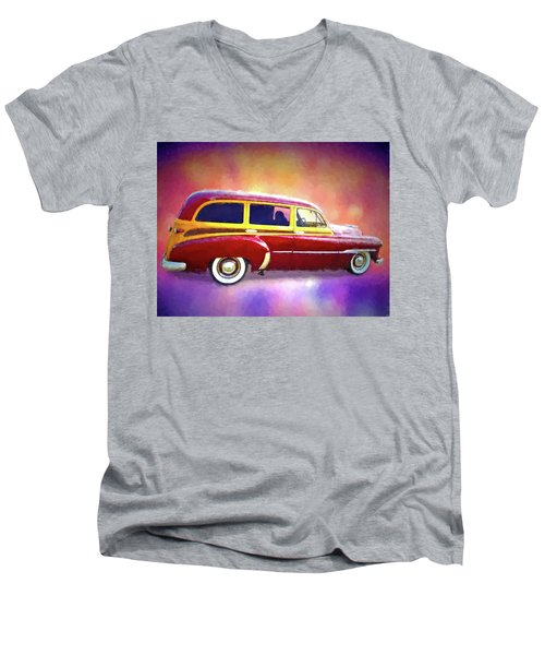 1951 Chevy Woody Sideview Men's V-Neck T-Shirt