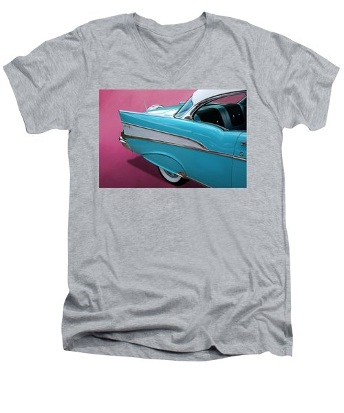 Men's V-Neck T-Shirt featuring the photograph Turquoise 1957 Chevrolet Bel Air by Debi Dalio