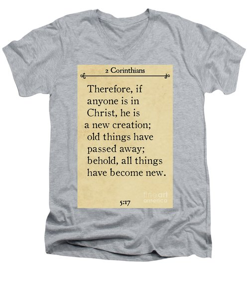 2 Corinthians 5 17 - Inspirational Quotes Wall Art Collection Men's V-Neck T-Shirt