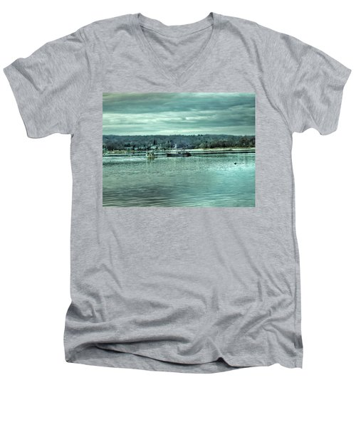 Boats At Northport Harbor Men's V-Neck T-Shirt