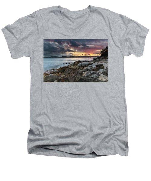 Colours Of A Stormy Sunrise Seascape Men's V-Neck T-Shirt