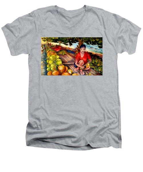 Green Coconut Cafe. Men's V-Neck T-Shirt