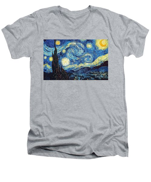 Starry Night By Van Gogh Men's V-Neck T-Shirt