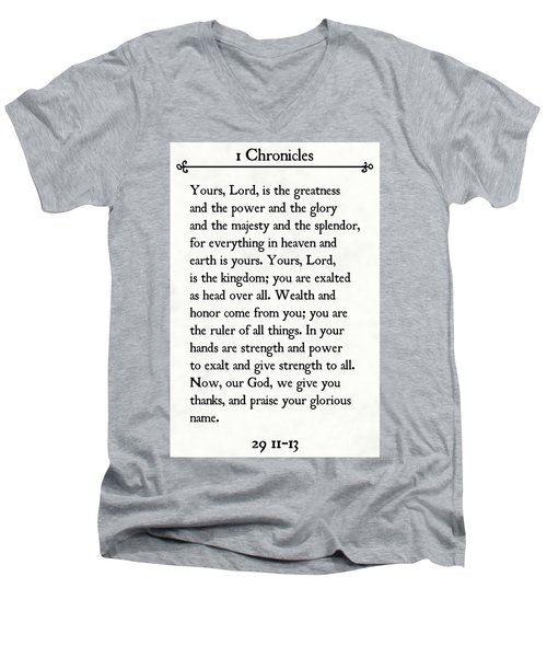 1 Chronicles 29 11-13- Inspirational Quotes Wall Art Collection Men's V-Neck T-Shirt