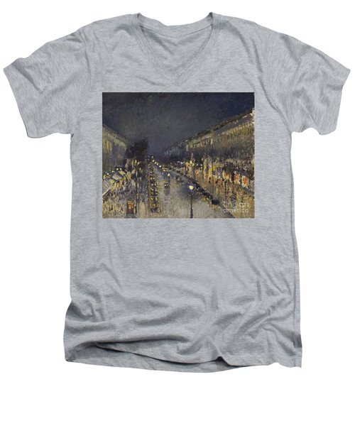 The Boulevard Montmartre At Night Men's V-Neck T-Shirt