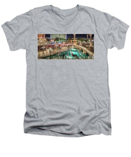 View Of The Venetian Hotel Resort And Casino Men's V-Neck T-Shirt