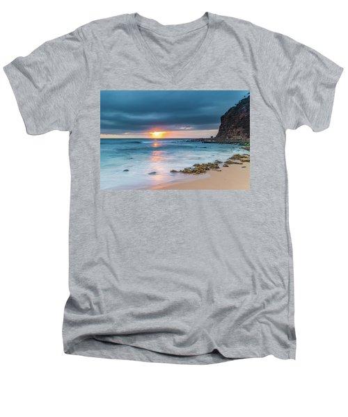 Sunrise Seascape And Cloudy Sky Men's V-Neck T-Shirt