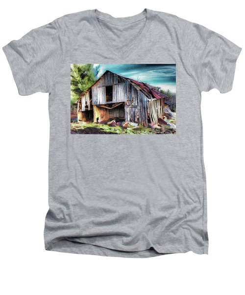 A Classic Vintage Barn In The Blue Ridge Ap Men's V-Neck T-Shirt