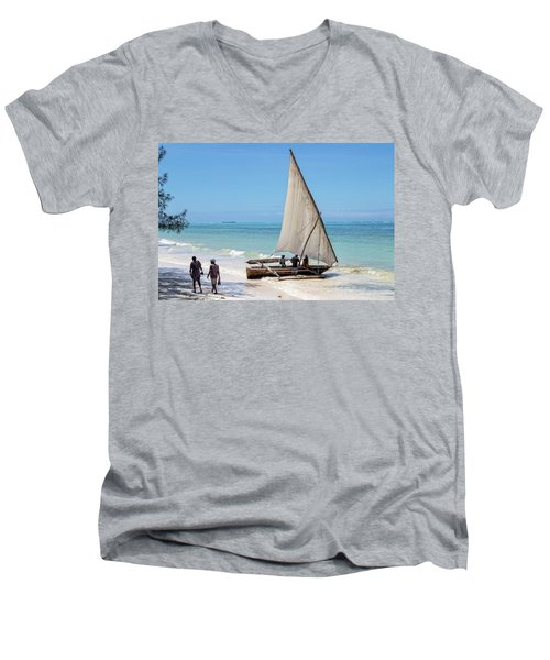 A Dhow In Zanzibar Men's V-Neck T-Shirt