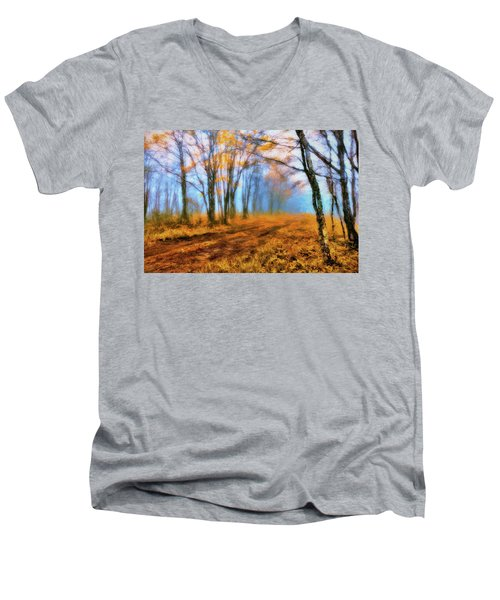 A Foggy Autumn Blue Ridge Morning Ap Men's V-Neck T-Shirt