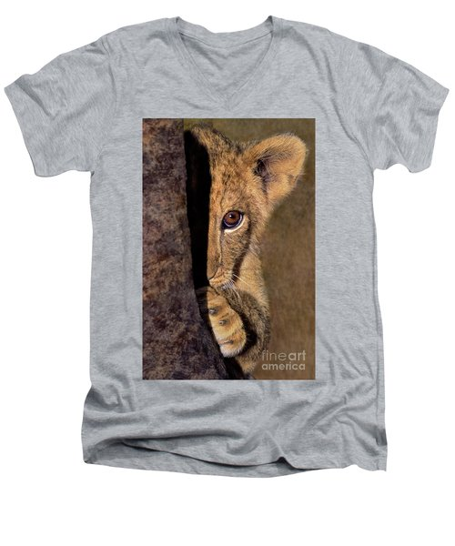 A Lion Cub Plays Hide And Seek Wildlife Rescue Men's V-Neck T-Shirt