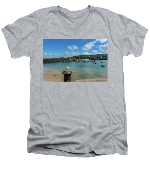 A Seagull Dreaming At The Harbour Men's V-Neck T-Shirt