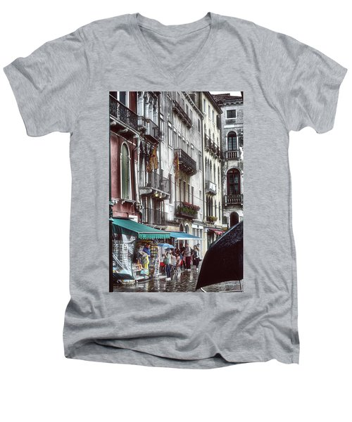 Men's V-Neck T-Shirt featuring the photograph A Typical Venetian Day by Eduardo Jose Accorinti