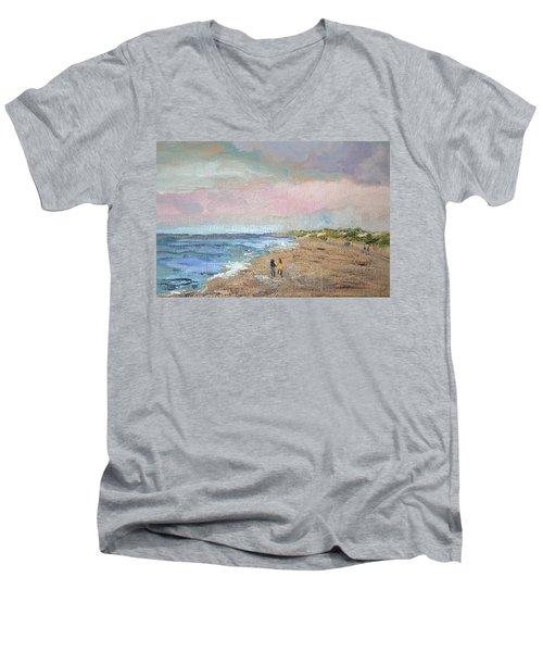 A Walk On The Beach Men's V-Neck T-Shirt