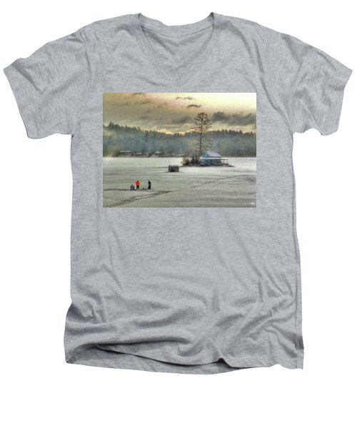 A Warm Glow On A Cool Scene Men's V-Neck T-Shirt