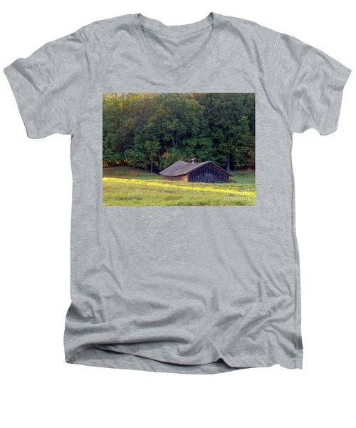 Abandoned Hay Barn At Sunrise Men's V-Neck T-Shirt