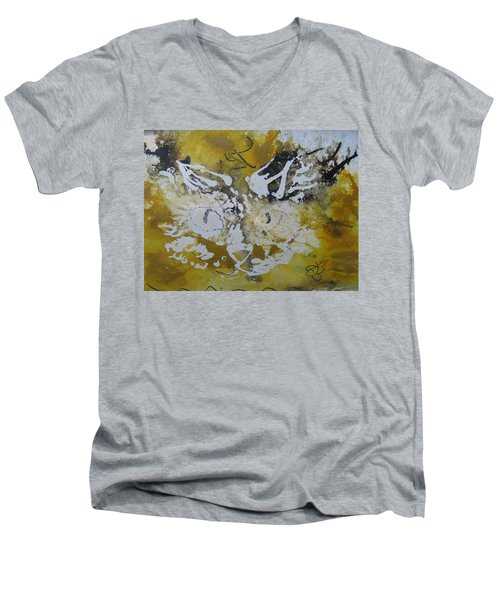 Abstract Cat Face Yellows And Browns Men's V-Neck T-Shirt