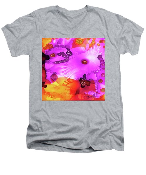 Men's V-Neck T-Shirt featuring the painting Abstract Ink 30 by Amy E Fraser