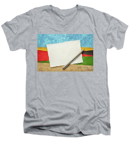 Abstract Landscape With A Blank Note Men's V-Neck T-Shirt