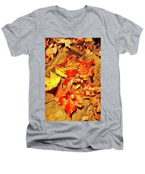 Acorns Fall Maple Oak Leaves Men's V-Neck T-Shirt