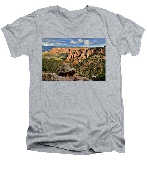 After The Storm Light On Colorado National Monument Men's V-Neck T-Shirt
