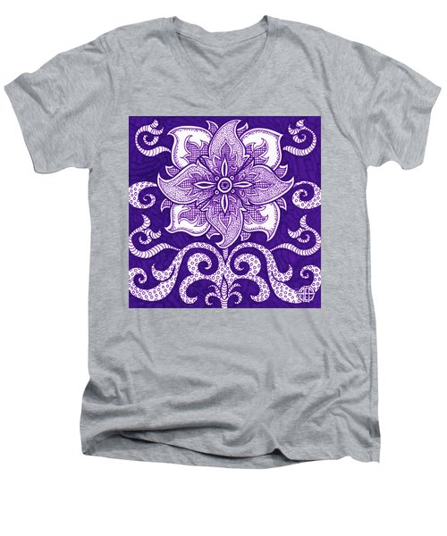 Men's V-Neck T-Shirt featuring the painting Alien Bloom 11 by Amy E Fraser