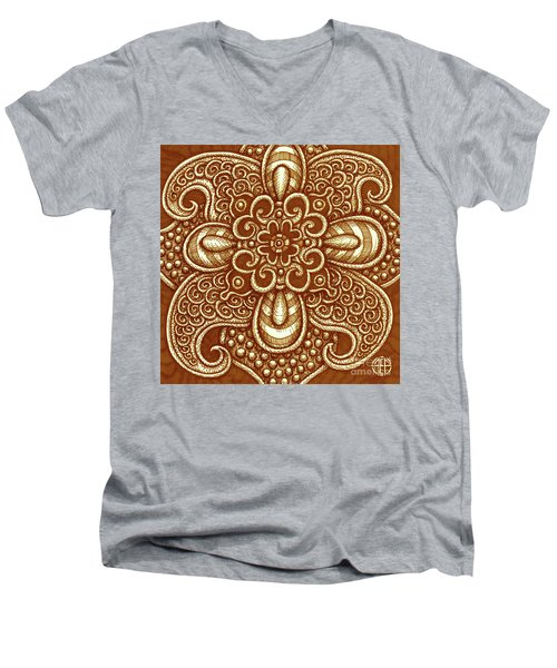 Men's V-Neck T-Shirt featuring the painting Alien Bloom 17 by Amy E Fraser